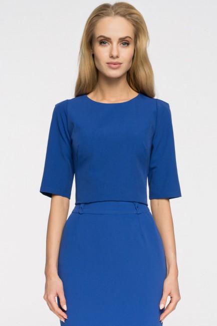 Elegancka gładka bluzka - chabrowa
