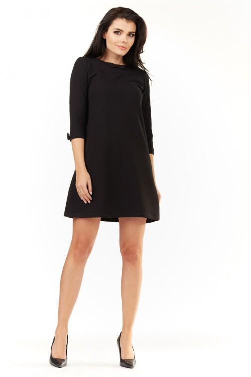 CM3490 Urocza sukienka mini z rękawami 3/4 - czarna