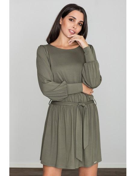 Zwiewna luźna sukienka z długimi rękawami - oliwkowa