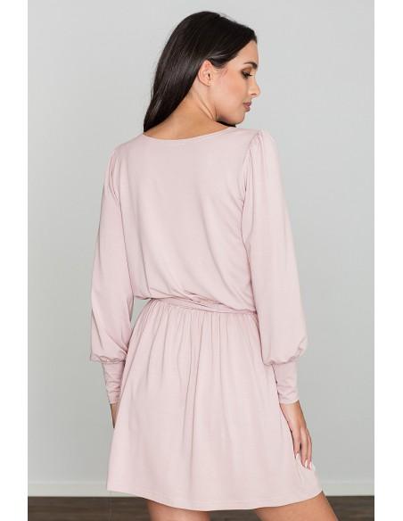 Zwiewna luźna sukienka z długimi rękawami - różowa