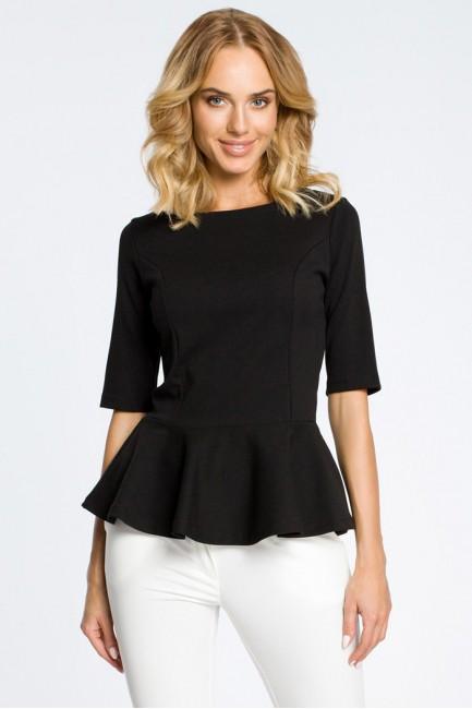 Elegancka bluzka z baskinką - czarna