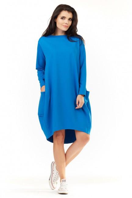 Wygodna sukienka dresowa z długim rękawem - niebieska