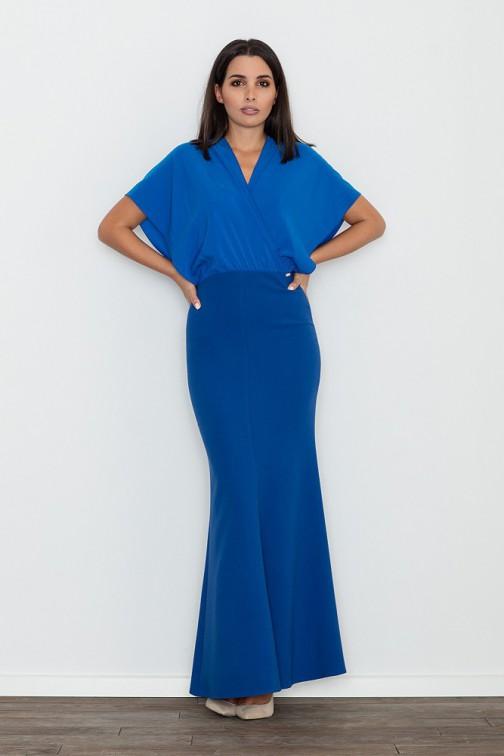 CM3472 Dopasowana sukienka ze zwiewną górą - niebieska
