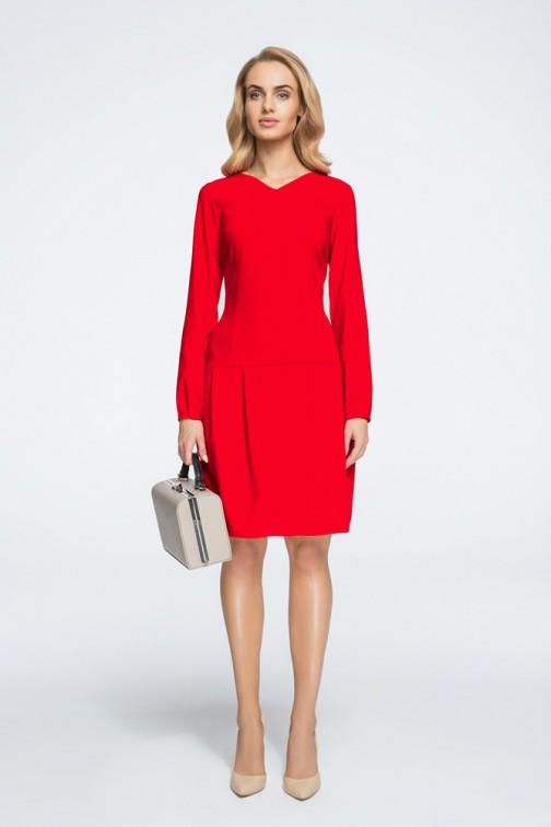 CM3056 Sukienka mini z obniżoną linią talii - czerwona