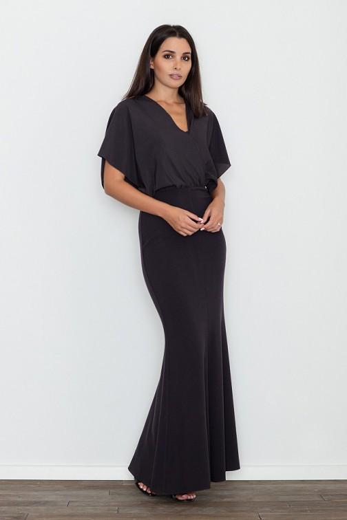 CM3472 Dopasowana sukienka ze zwiewną górą - czarna