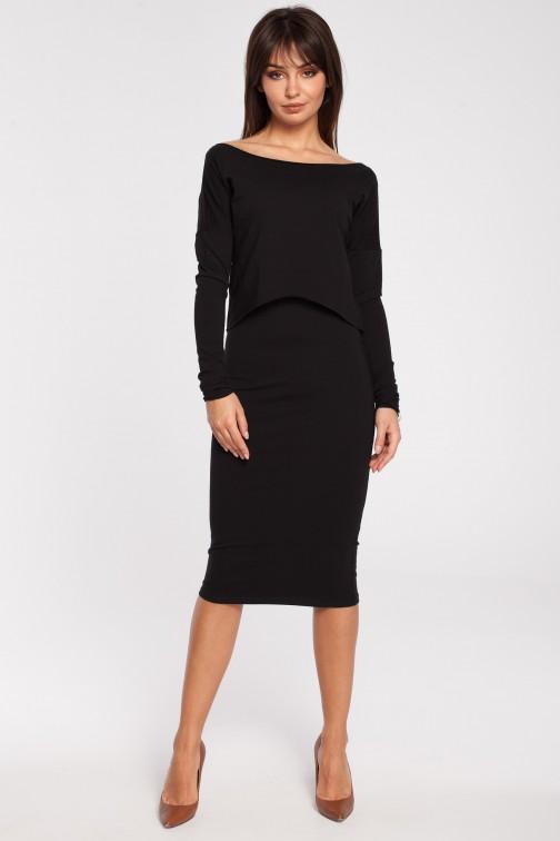 CM2780 Elastyczna ołówkowa sukienka midi - czarna