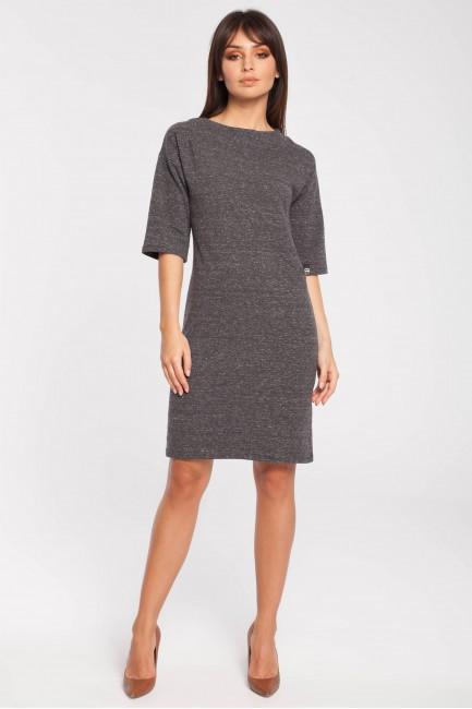 Dresowa sukienka biurowa - grafitowy melanż