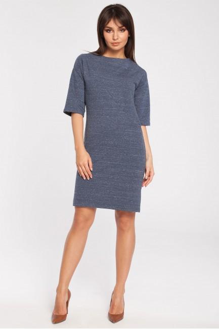 Dresowa sukienka biurowa - granatowy melanż