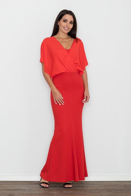 CM3472 Dopasowana sukienka ze zwiewną górą - czerwona