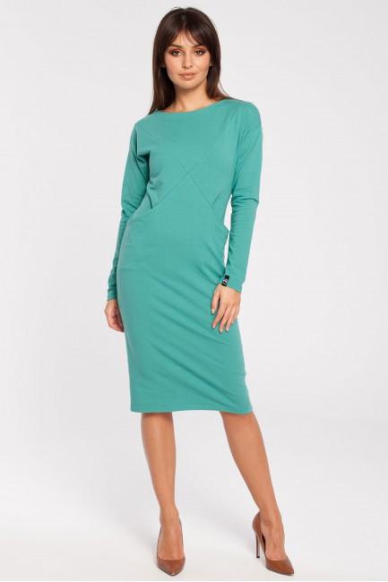Sportowa sukienka z długim rękawem - zielona