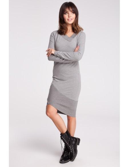 Asymetryczna dresowa sukienka - szara