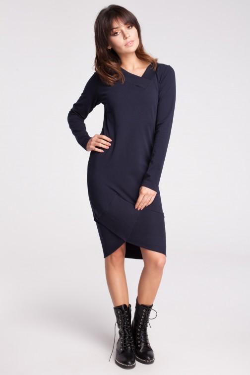 CM2786 Asymetryczna dresowa sukienka - granatowa