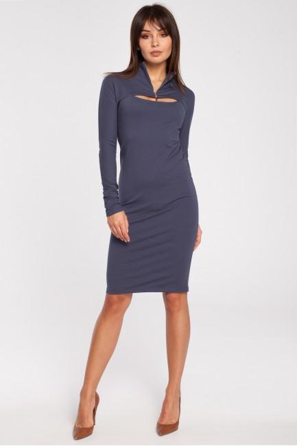 Ołówkowa sukienka z zasuwanym golfem - niebieska