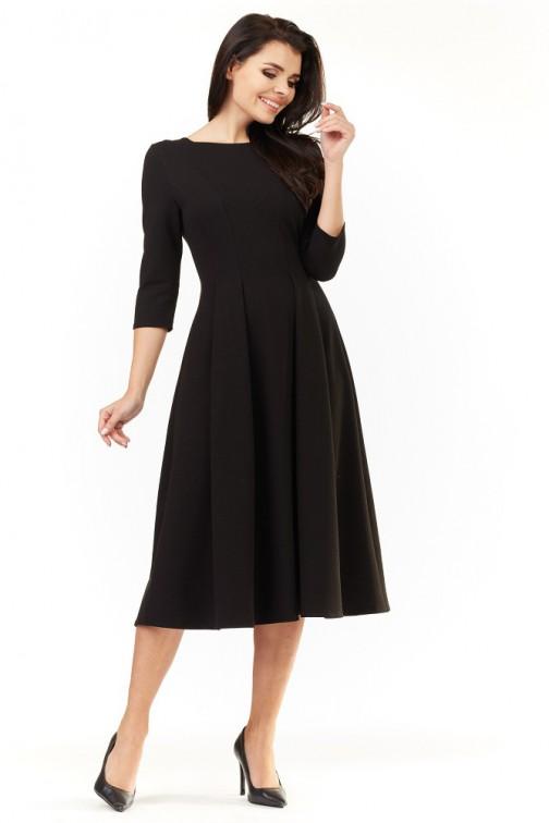 CM3492 Elegancka rozkloszowana sukienka midi - czarna