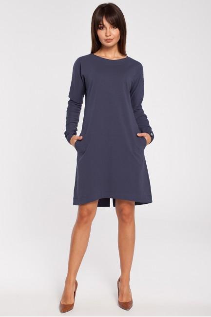 Trapezowa sukienka z długim rękawem - niebieska