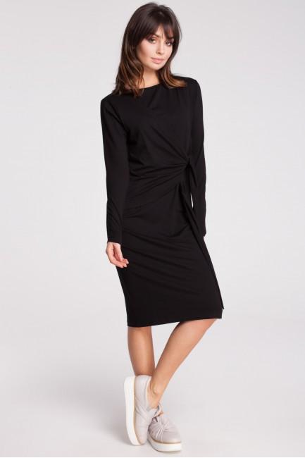 Nowoczesna sukienka z szarfą - czarna