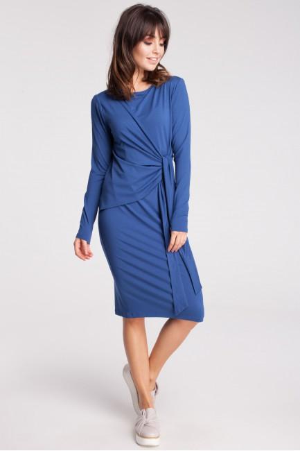 Nowoczesna sukienka z szarfą - niebieska
