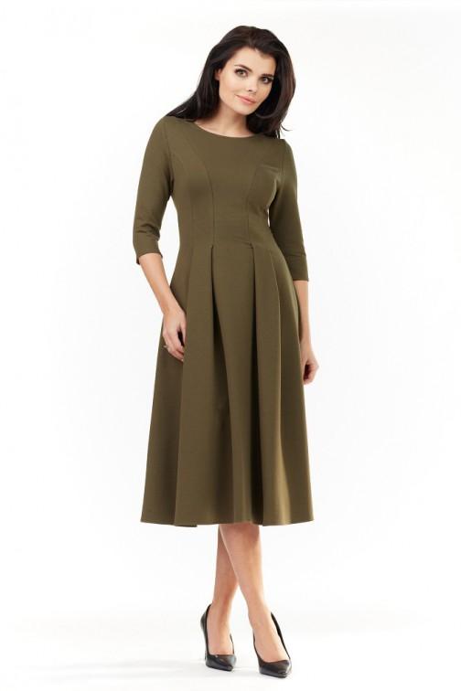 CM3492 Elegancka rozkloszowana sukienka midi - oliwkowa