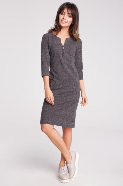 Dresowa sukienka z rękawem 3/4 - grafitowy-melanż