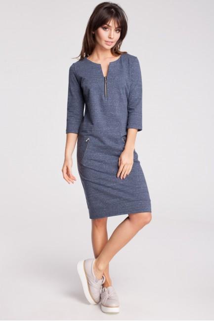 Dresowa sukienka z rękawem 3/4 - granatowy-melanż