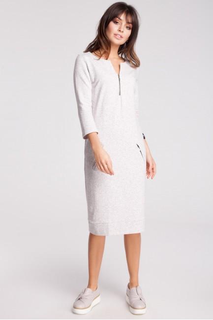Dresowa sukienka z rękawem 3/4 - stracciatella