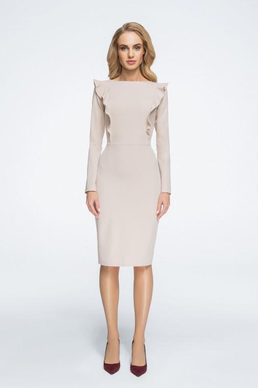 CM3057 Ołówkowa sukienka zdobiona falbankami - beżowa