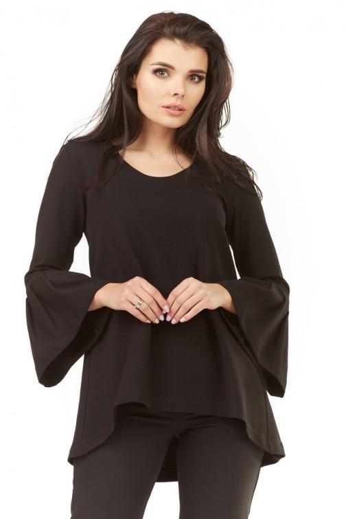 CM3493 Zwiewna bluzka damska z falbaną przy rękawach - czarna