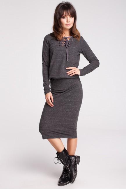 Wygodna dresowa sukienka - grafitowy-melanż