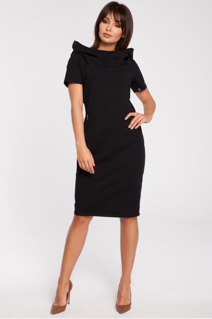 Unikalna sukienka z kapturem - czarna