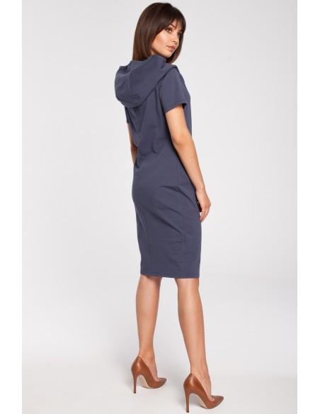 Unikalna sukienka z kapturem - niebieska