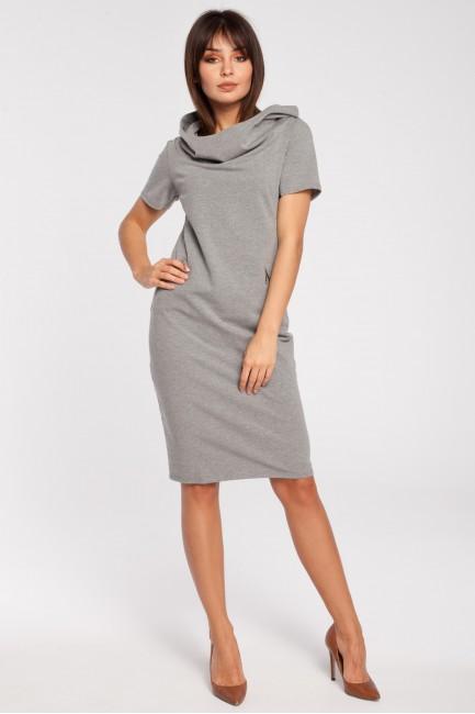 Unikalna sukienka z kapturem - szara