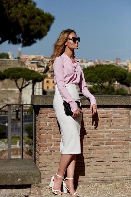 Elegancka ołówkowa spódniczka midi - ecru