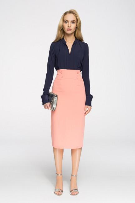 Elegancka ołówkowa spódniczka midi - łososiowa
