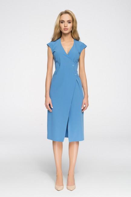 Nowoczesna sukienka z ozdobnymi guzikami - niebieska