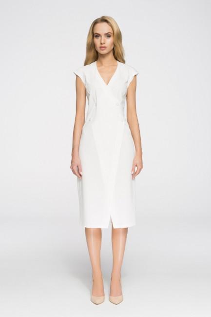 Nowoczesna sukienka z ozdobnymi guzikami - ecru