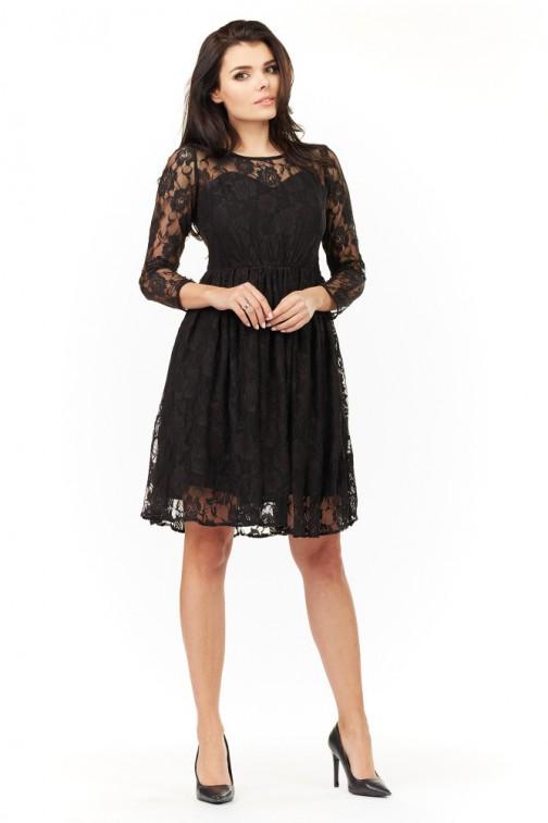 CM3494 Koronkowa sukienka z rękawami 3/4 - czarna