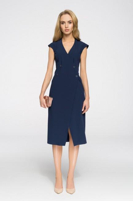 Nowoczesna sukienka z ozdobnymi guzikami - granatowa