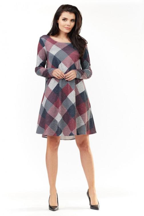CM3495 Kobieca sukienka z długim rękawem - kratka