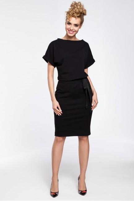 Sukienka midi z wiązaniem w pasie - czarna