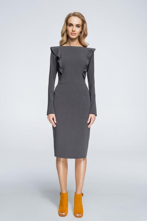 CM3057 Ołówkowa sukienka zdobiona falbankami - szara