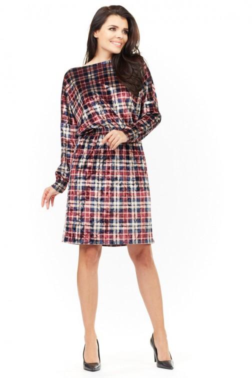 CM3481 Miękka kobieca sukienka - kratka
