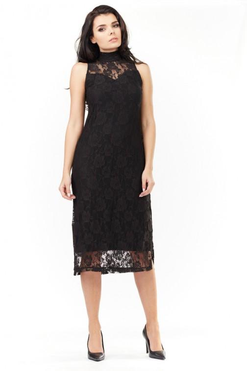 CM3483 Koronkowa sukienka bez rękawów - czarna