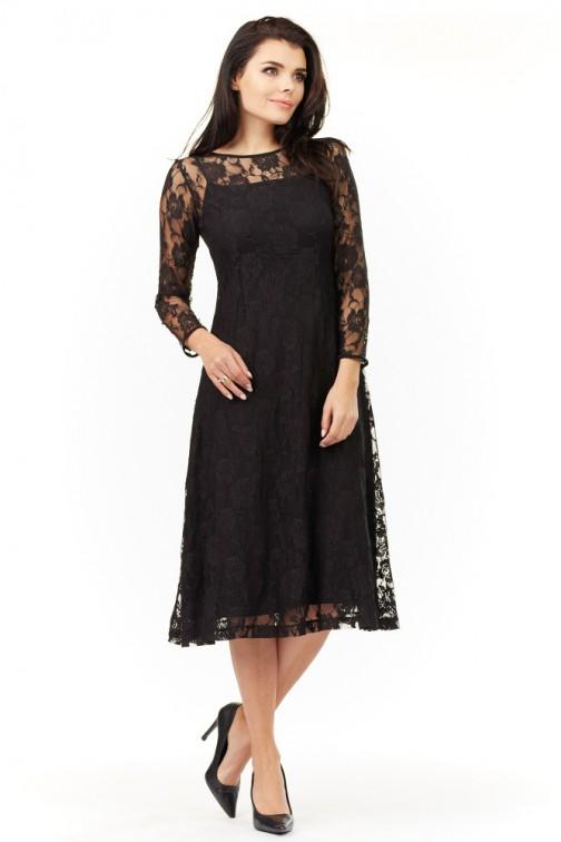 CM3496 Kobieca koronkowa sukienka - czarna
