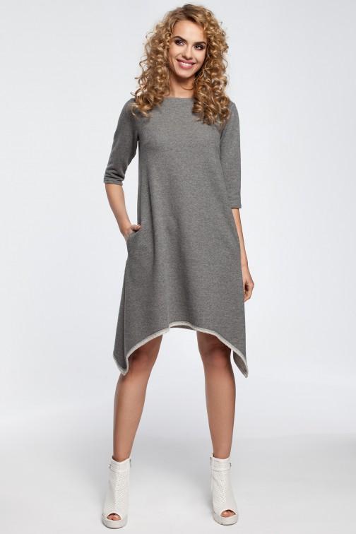 CM2907 Asymetryczna sukienka dresowa - szara
