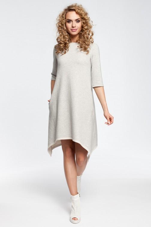 CM2907 Asymetryczna sukienka dresowa - popielata