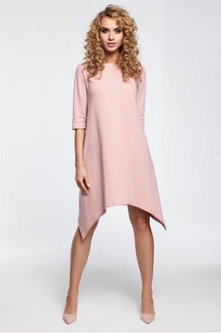 Asymetryczna sukienka dresowa - pudrowa