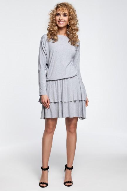 Stylowa sukienka z falbanami - popielata