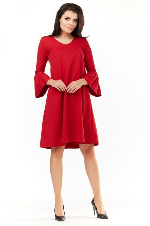 CM3498 Sukienka z falbanami przy rękawach - czerwona
