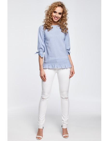 Stylowa bluzka z wiązaniem przy rękawach - niebieska