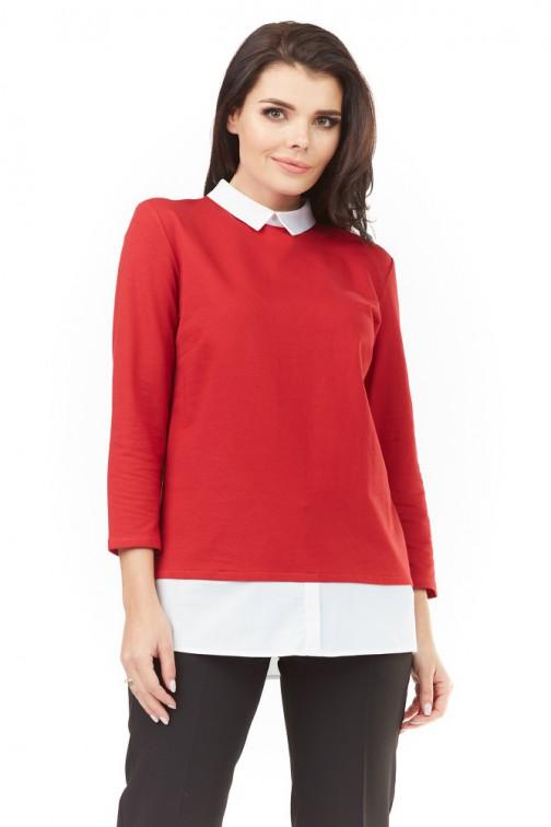 CM3499 Dzianinowa bluzka z białym kołnierzykiem - czerwona